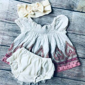 Baby Gap 3-6m Paisley Top + Lace Bloomer & Bow Set